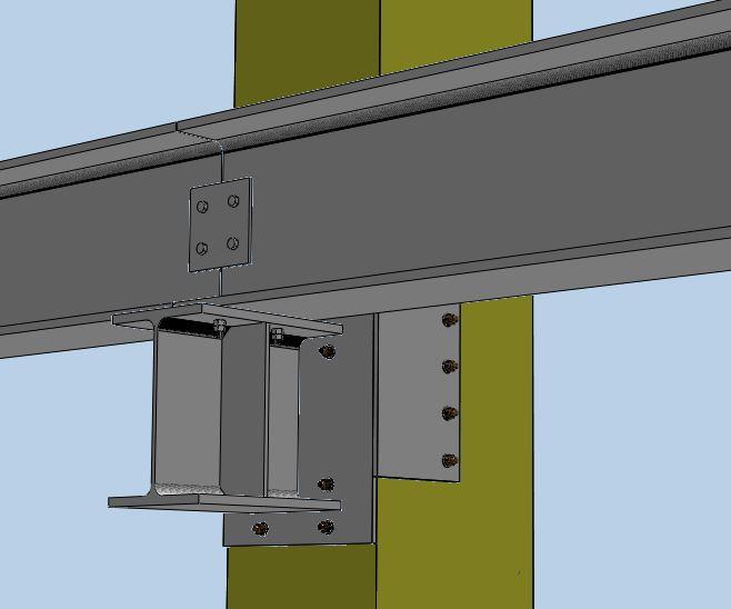 Esempio di via di corsa applicata su pilastro in cap esistente, con relativo studio di eventuali interferenze con armatura esistente.
